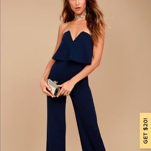 Lulu's Dark Navy Strapless Jumpsuit